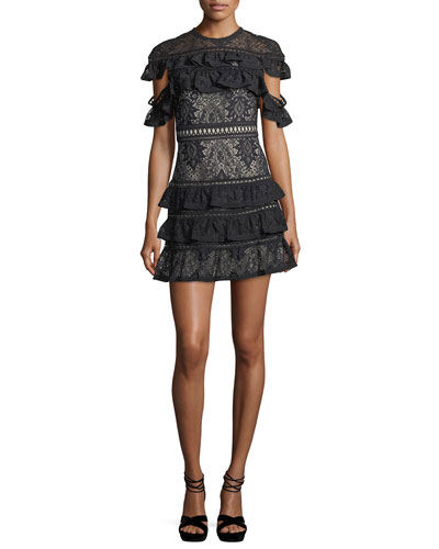 Jolie Tiered Ruffled Lace Mini Dress