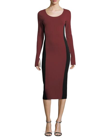 Long-Sleeve Scoop-Neck Two-Tone Midi Knit Dress