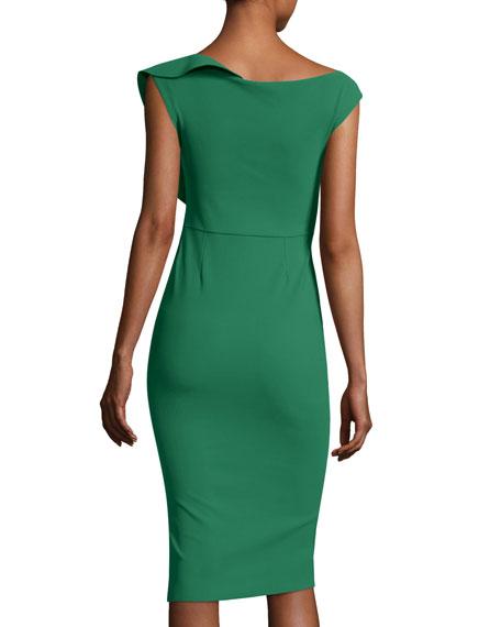 Imani Asymmetric Ruffle Cocktail Sheath Dress