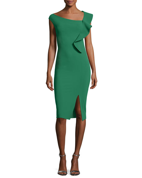 Imani Asymmetric Ruffle Cocktail Sheath Dress