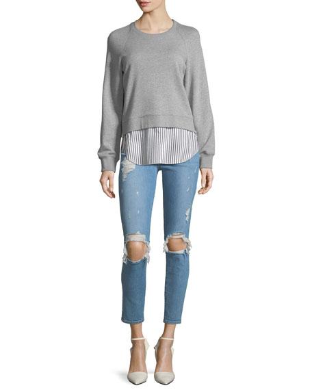 Devi Distressed Mid-Rise Skinny-Leg Ankle Jeans