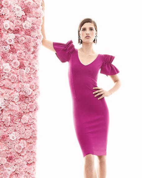 Taja V-Neck Ruffle Short-Sleeve Cocktail Dress