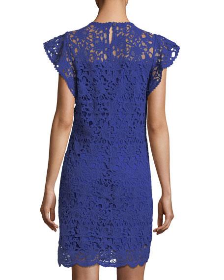 Velvet Ally Frill-Sleeve Lace-Guipure Dress
