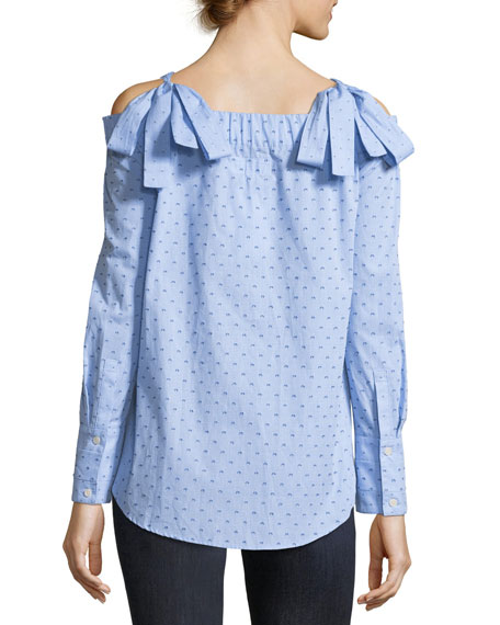 Off-the-Shoulder Dotted Cotton Dobby Shirt