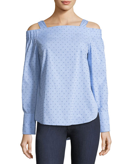 Derek Lam 10 Crosby Off-the-Shoulder Dotted Cotton Dobby