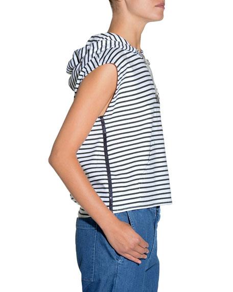 Striped Sleeveless Jersey Top w/ Hood
