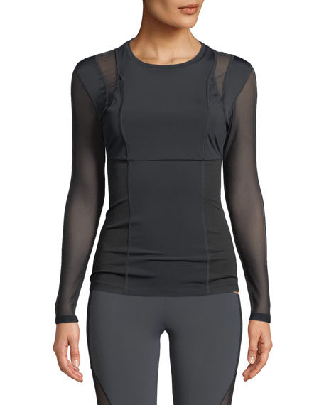Cushnie Et Ochs Veda Crewneck Long-Sleeve Top