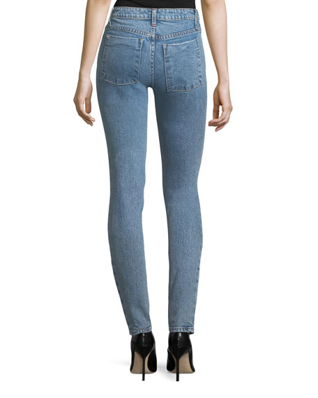 Mid-Rise Skinny-Leg Jeans with Embroidery