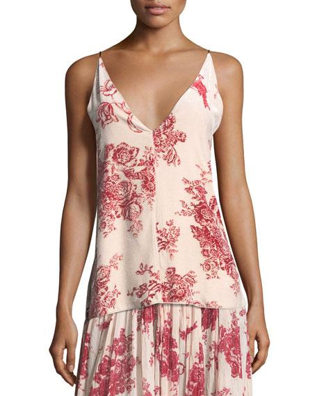 Liberty Floral-Print Velvet Camisole Top