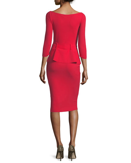 Viorika Belted Peplum Cocktail Sheath Dress