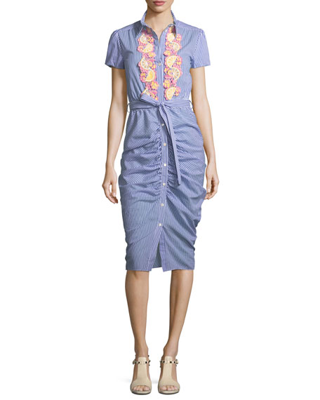 Boutique Moschino Ruched-Skirt Striped Shirtdress