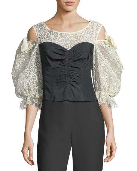 Rebecca Taylor Malorie Pouf-Sleeve Corset Top with Lace