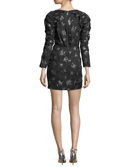 Glitter V-Neck Long-Sleeve Sheath Mini Dress