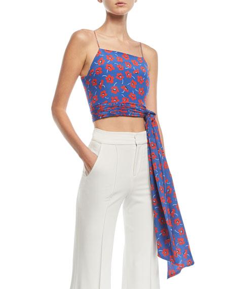 Alice + Olivia Deidra Floral-Print Tie-Waist Crop Tank