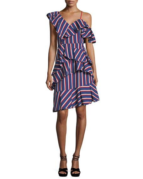 Laflora Asymmetric Ruffle Striped Poplin Dress