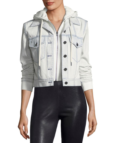 AO.LA by Alice+Olivia Chloe Cropped Denim Jacket with
