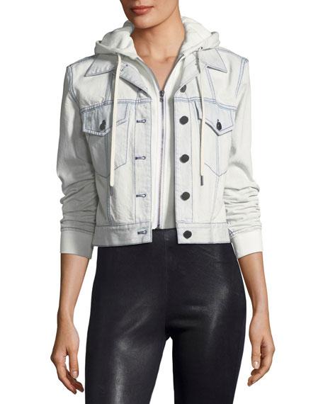 AO.LA Chloe Cropped Denim Jacket with Hood