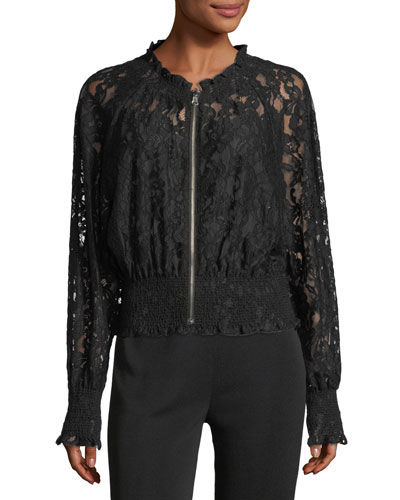 Rebecca Taylor Long-Sleeve Zip-Front Lace Bomber Jacket