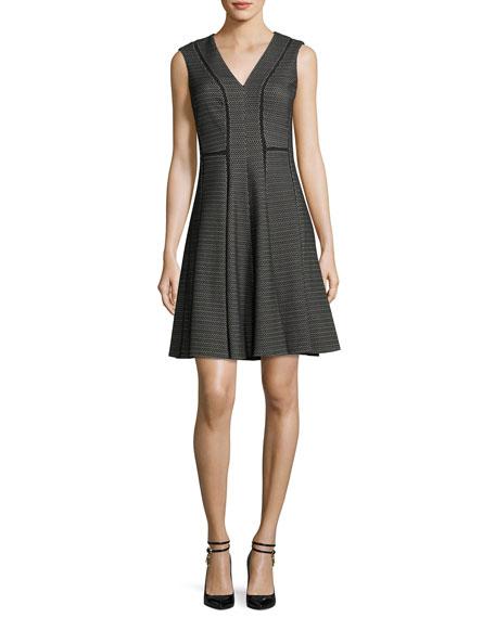 V-Neck Sleeveless Fit-and-Flare Dress