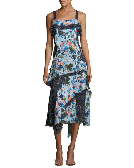 Watercolor Floral-Print Sleeveless Tiered Midi Dress