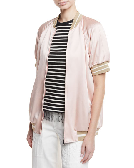 Short-Sleeve Satin Bomber Jacket