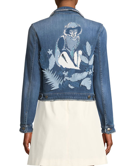 Monkey-Motif Denim Jacket