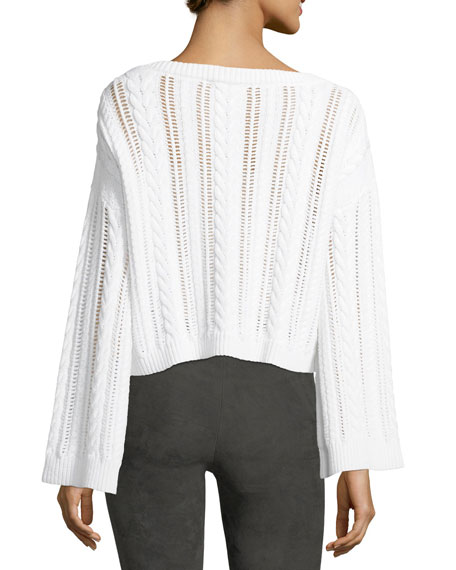 Bell-Sleeve Cable-Knit Wool-Blend Sweater