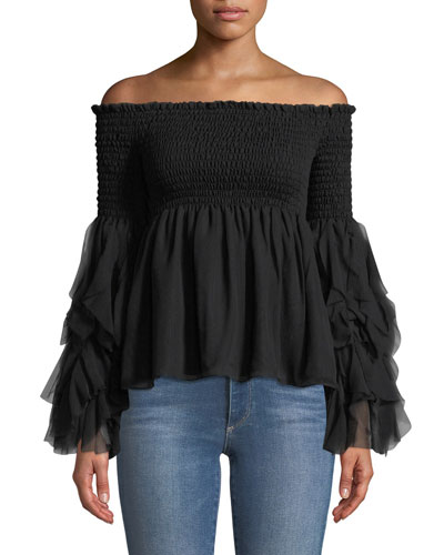 Caroline Constas Alessandra Off-the-Shoulder Long-Sleeve Silk Top