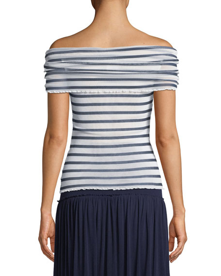 Striped Tulle Off-the-Shoulder Top