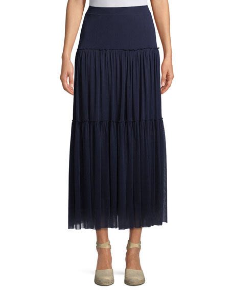 Fuzzi Tiered-Tulle Maxi Skirt