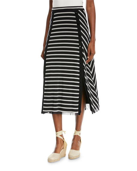 Striped Button-Detail Maxi Skirt