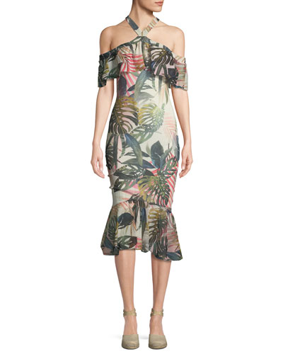 Jungle-Print Mermaid Ruffle-Sleeve Dress