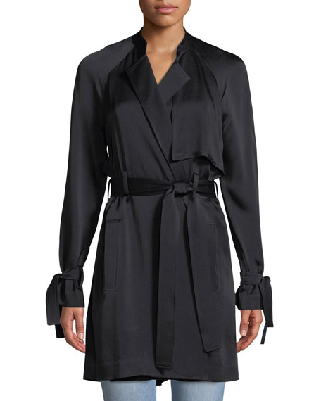 Kendall Tie-Waist Silk Trench Coat