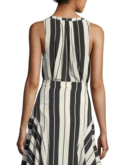 Aruna Sleeveless Striped Silk Top