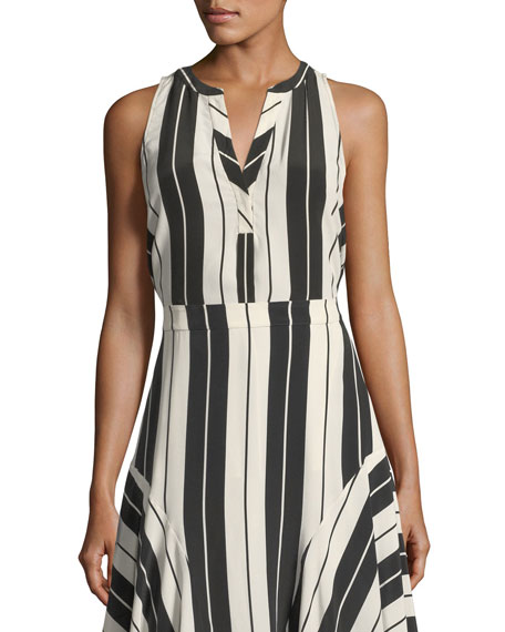 Joie Aruna Sleeveless Striped Silk Top and Matching