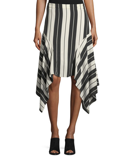 Joie Esha Striped Silk Midi Skirt