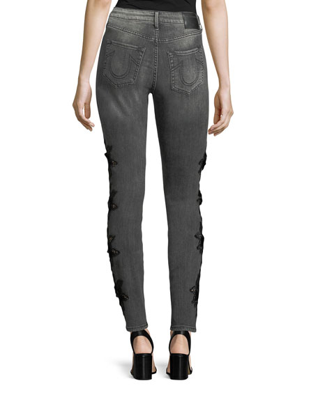 Jennie Curvy Mid-Rise Skinny-Leg Jeans with Floral-Embroidery