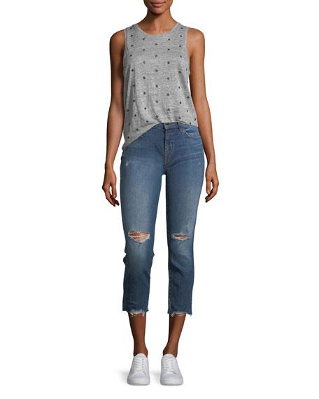 Sadey Slim Straight-Leg Cropped Jeans