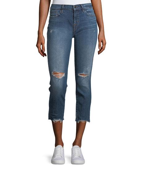 J Brand Sadey Slim Straight-Leg Cropped Jeans