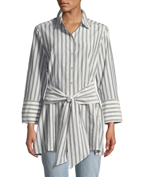 Striped Tie-Front Silk-Blend Shirt, Petite