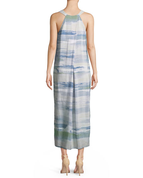 Watercolor Silk-Blend Maxi Dress, Plus Size