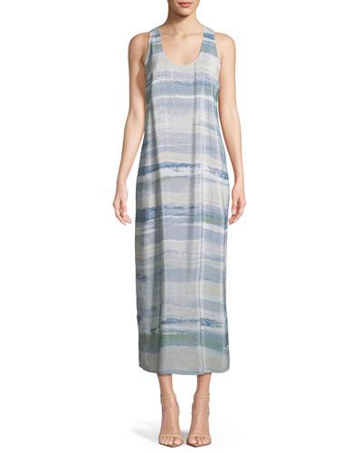 Watercolor Silk-Blend Maxi Dress, Plus Size