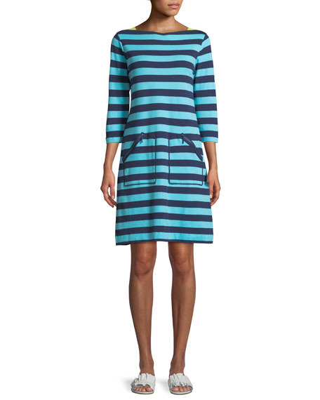 Joan Vass 3/4-Sleeve Striped Cotton Shift Dress, Petite