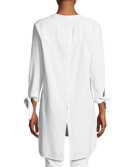 High-Low Crepe Shirting Tunic, Petite