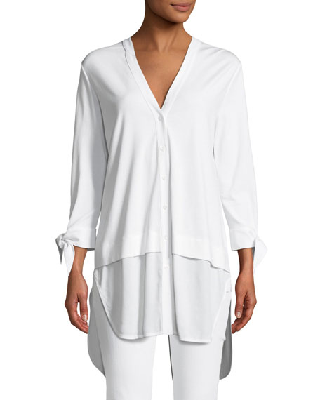 Joan Vass High-Low Poplin Shirting Tunic, Petite