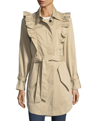 Gila Button-Front Belted Trench Coat