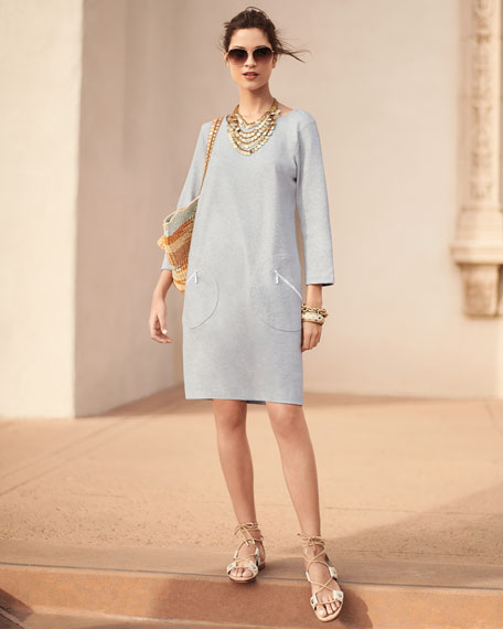 Circle-Pocket Cotton Shift Dress, Petite