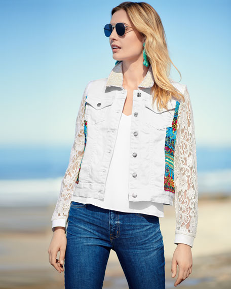 Temptation Lace-Sleeve Denim Jacket, Plus Size