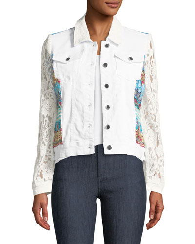 Temptation Lace-Sleeve Denim Jacket, Petite