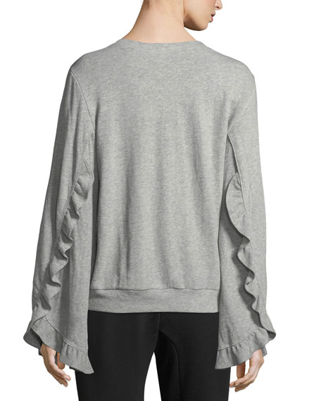 Camden Crewneck Bell-Sleeve Top